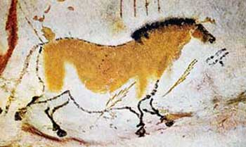 Running horse petroglyph from prehistoric Lascaux (France)